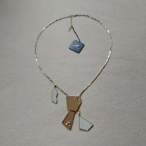 Signed Daniel Swarovski Crystal Enamel Gold Chain Necklace Art Deco 893026